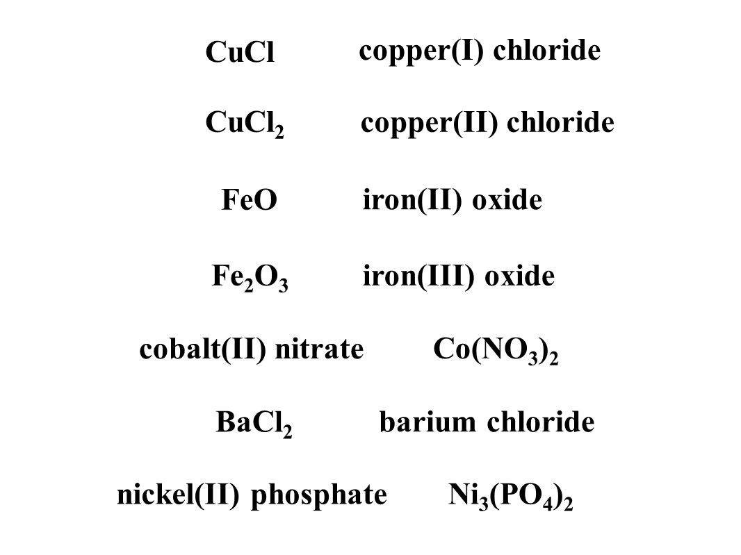 CuCl copper(I) chloride CuCl 2 copper(II) chloride FeO iron(II) oxide Fe 2 O 3 iron(III) oxide cobalt(II) nitrate Co(NO 3 ) 2 nickel(II) phosphateNi 3 (PO 4 ) 2 BaCl 2 barium chloride