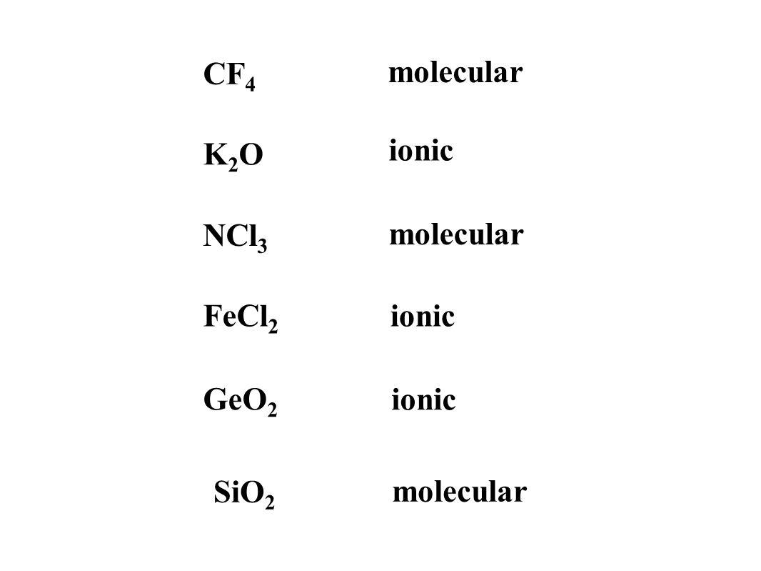CF 4 molecular GeO 2 ionic SiO 2 molecular FeCl 2 ionic K2OK2O NCl 3 molecular