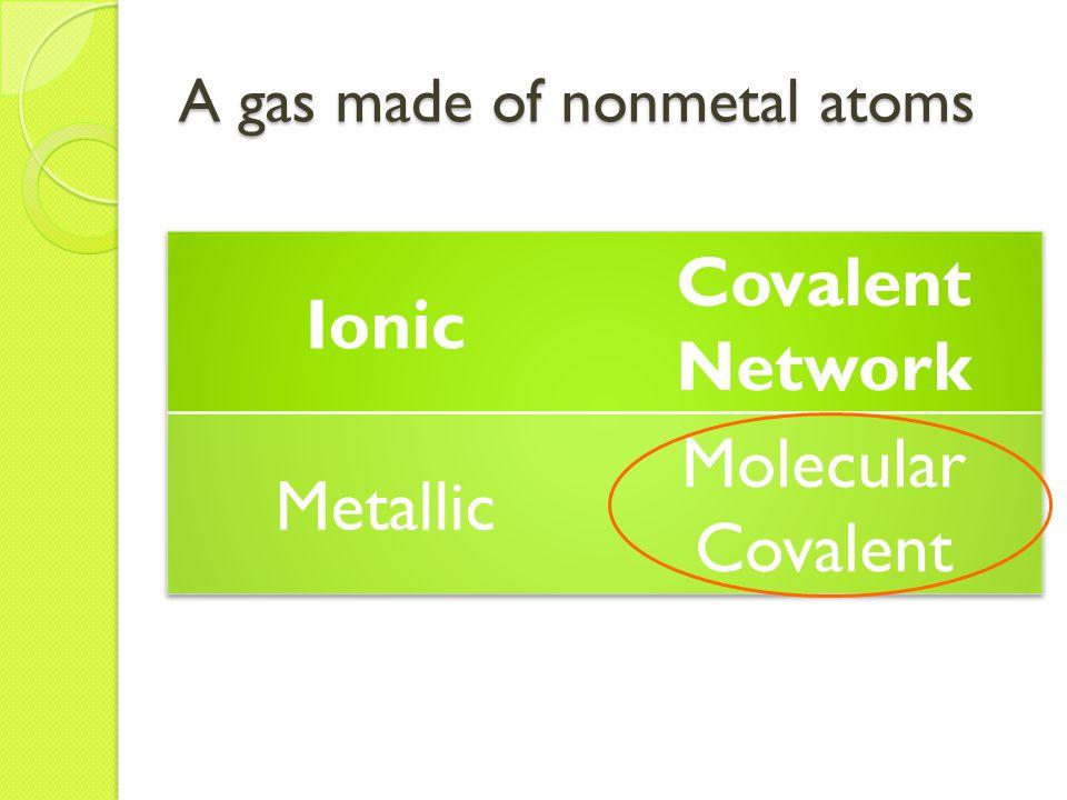 A gas made of nonmetal atoms