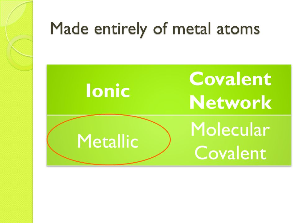 Made entirely of metal atoms