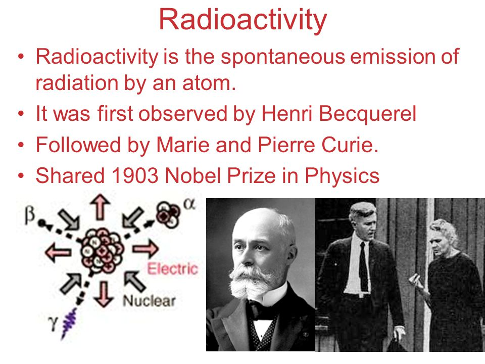 Atoms, Molecules, and Ions Radioactivity Radioactivity is the spontaneous emission of radiation by an atom. It was first observed by Henri Becquerel F