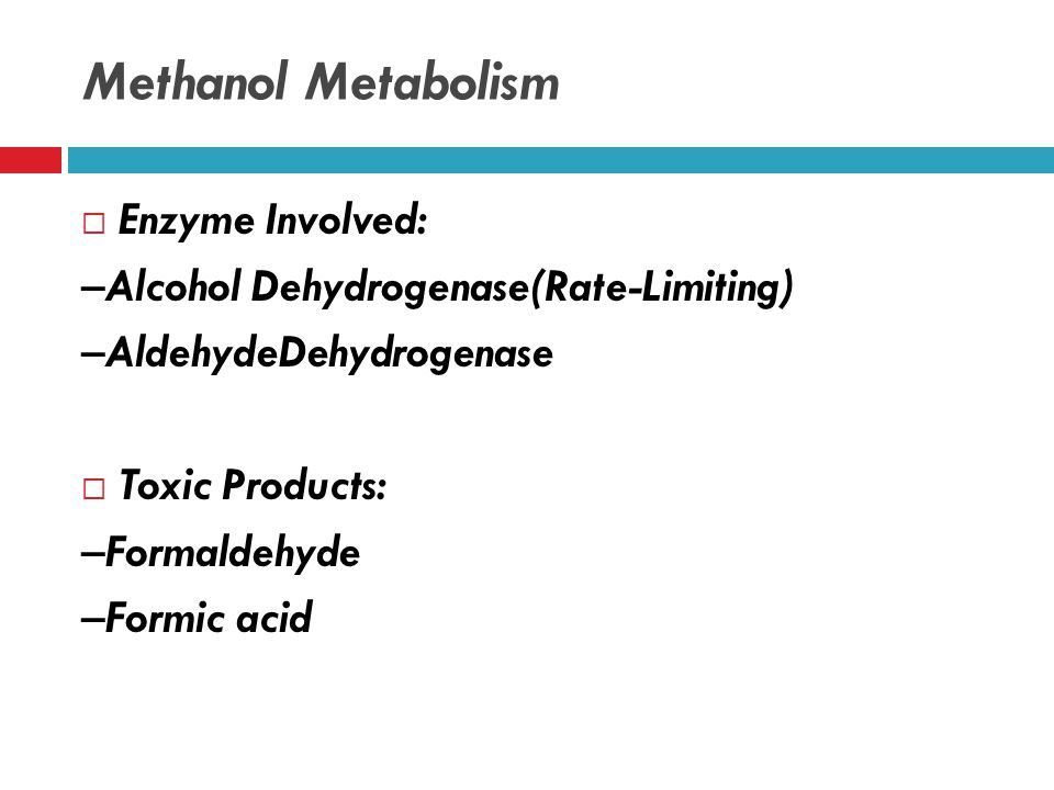 Metabolic Pathway Methanol Formaldehyde Formic acid CO 2 + H 2 O Alcohol dehydrogenase Aldehydedehydrogenase Tetrahydrofolate