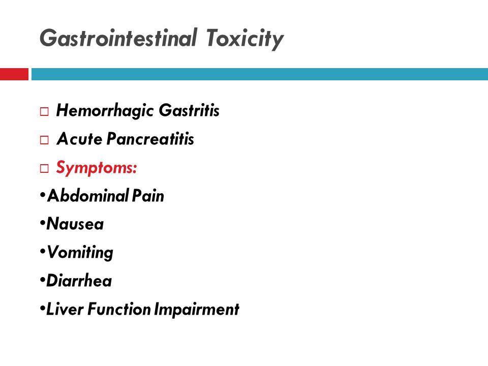Ophthalmologic Toxicity Signs:  Optic discs hyperemia  Retinal edema  Retinal vessels engorgement  Papilledema  Papillary dilation  Loss of papi
