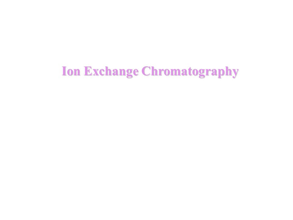 Basic principles in ion exchange chromatography 1.