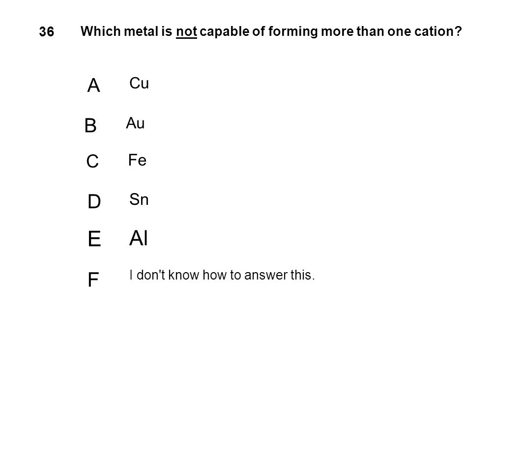 36 Which metal is not capable of forming more than one cation? A Cu B Au C Fe D Sn E Al F I don't know how to answer this.