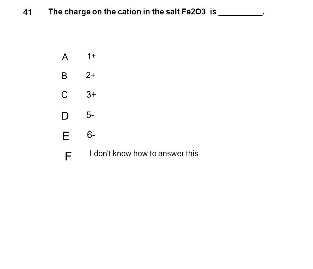 41 The charge on the cation in the salt Fe2O3 is __________. A 1+ B 2+ C 3+ D 5- E 6- F I don't know how to answer this.