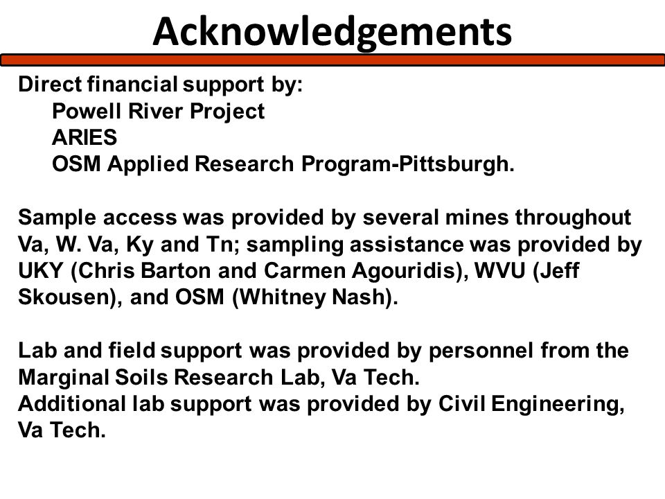 Acknowledgements Direct financial support by: Powell River Project ARIES OSM Applied Research Program-Pittsburgh.
