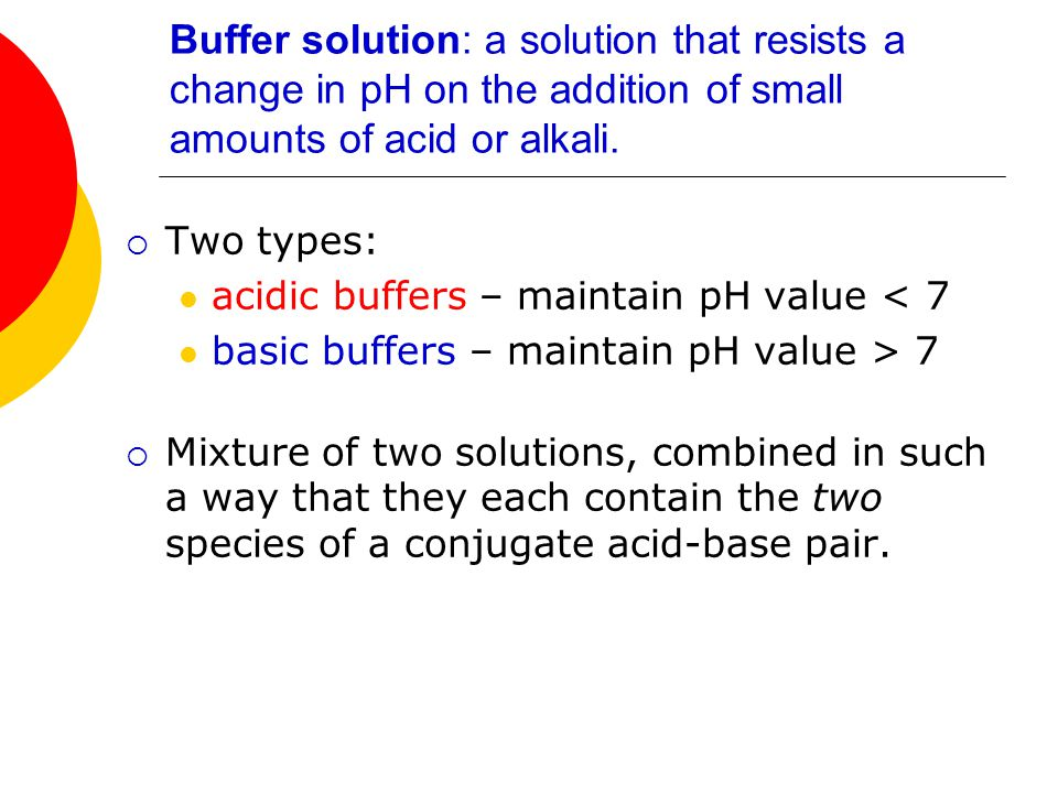 Buffer solution: a solution that resists a change in pH on the addition of small amounts of acid or alkali.  Two types: acidic buffers – maintain pH