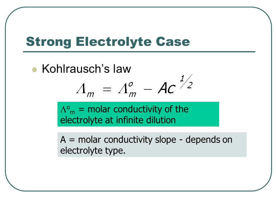 Strong Electrolyte Case Kohlrausch's law  o m = molar conductivity of the electrolyte at infinite dilution A = molar conductivity slope - depends on