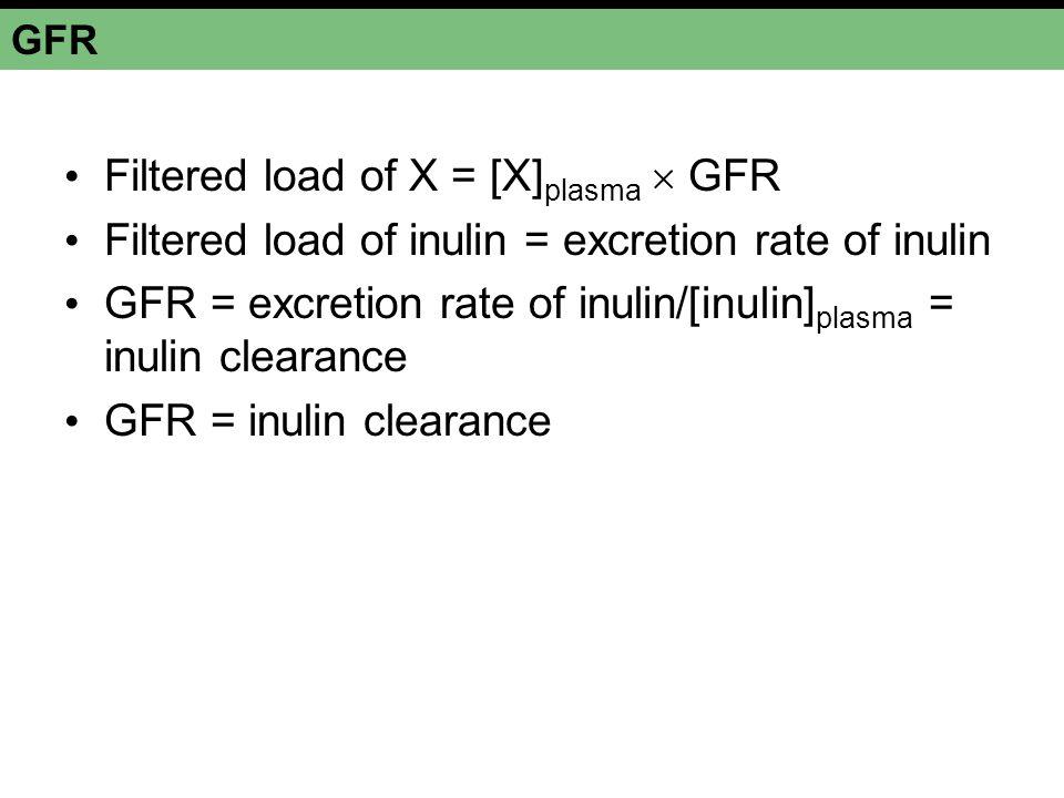 GFR Filtered load of X = [X] plasma  GFR Filtered load of inulin = excretion rate of inulin GFR = excretion rate of inulin/[inulin] plasma = inulin c