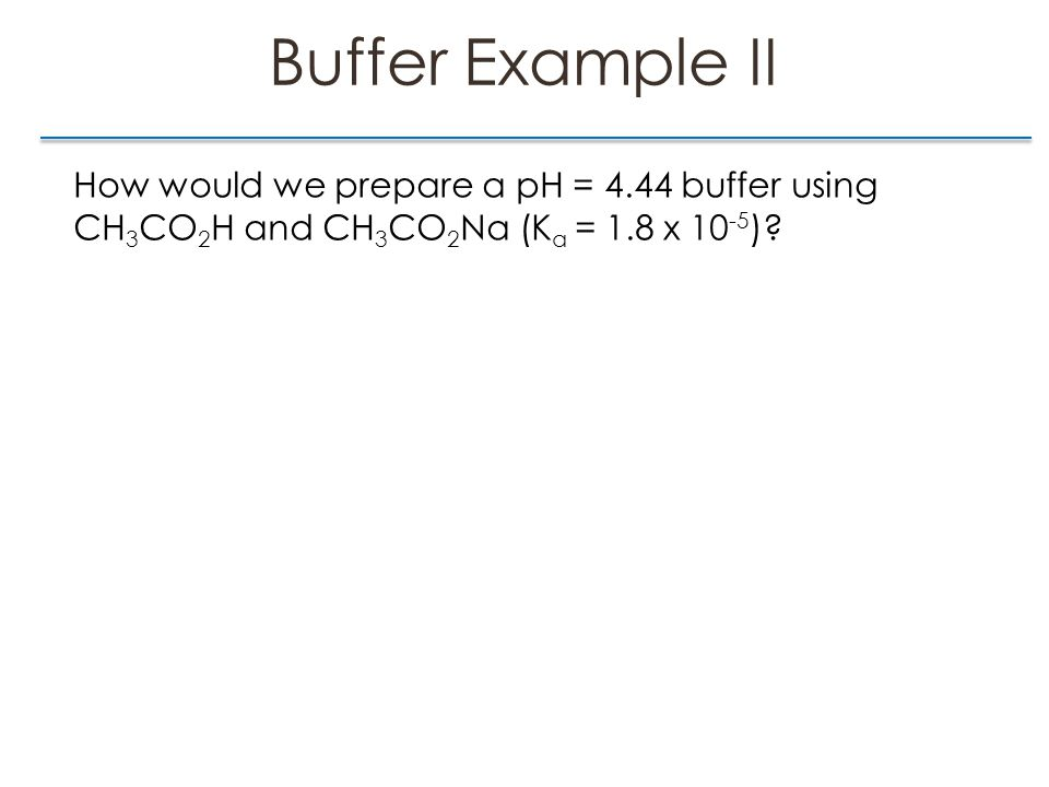Buffer Example II How would we prepare a pH = 4.44 buffer using CH 3 CO 2 H and CH 3 CO 2 Na (K a = 1.8 x 10 -5 )