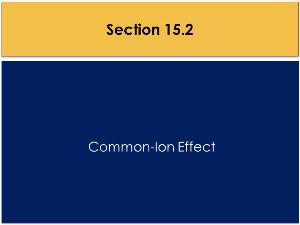 Common-Ion Effect Section 15.2