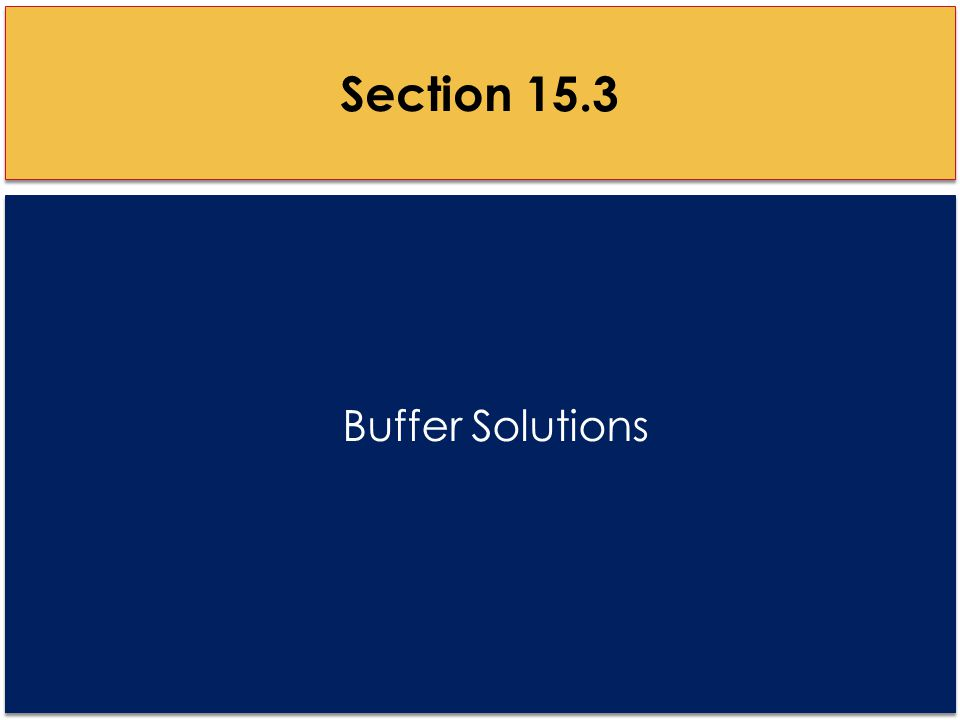 Buffer Solutions Section 15.3