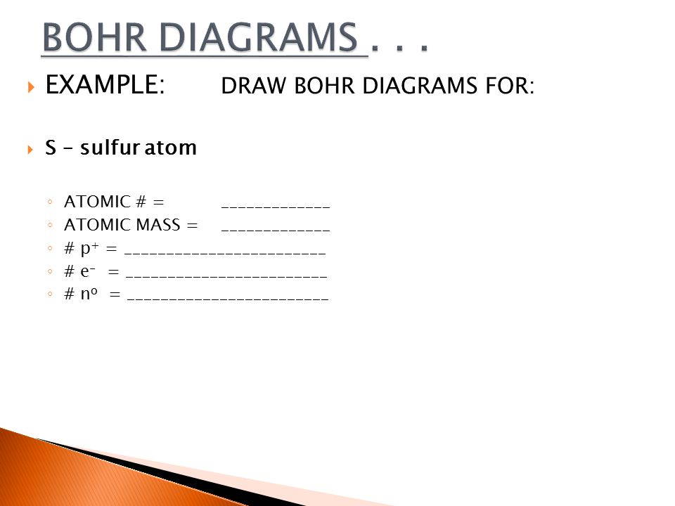  EXAMPLE: DRAW BOHR DIAGRAMS FOR:  S – sulfur atom ◦ ATOMIC # = _____________ ◦ ATOMIC MASS = _____________ ◦ # p + = ________________________ ◦ # e - = ________________________ ◦ # n o = ________________________