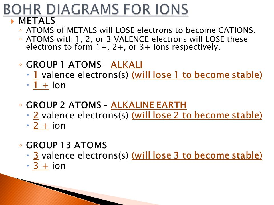  METALS ◦ ATOMS of METALS will LOSE electrons to become CATIONS.