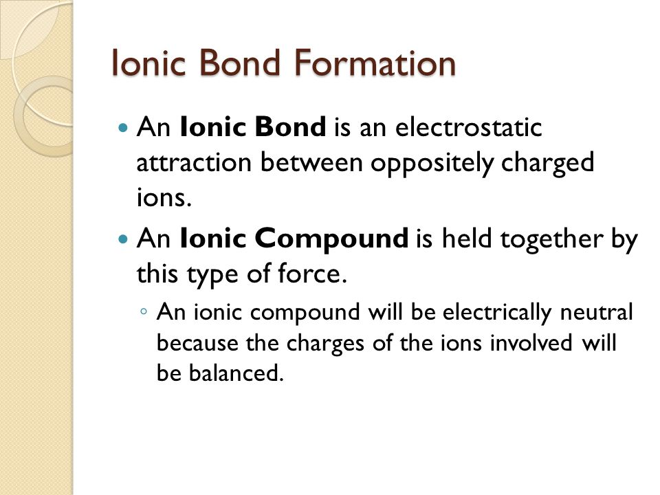 Ionic Bond Formation An Ionic Bond is an electrostatic attraction between oppositely charged ions.