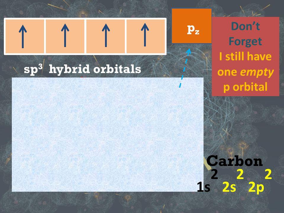p orbitals s orbit sp 3 hybrid orbitals Carbon 1s 1 2sp 3 pzpz Don't Forget I still have one empty p orbital Carbon 1s 2 2s 2 2p 2