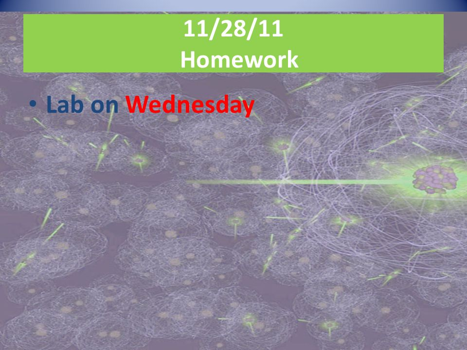 11/28/11 Homework Lab on Wednesday
