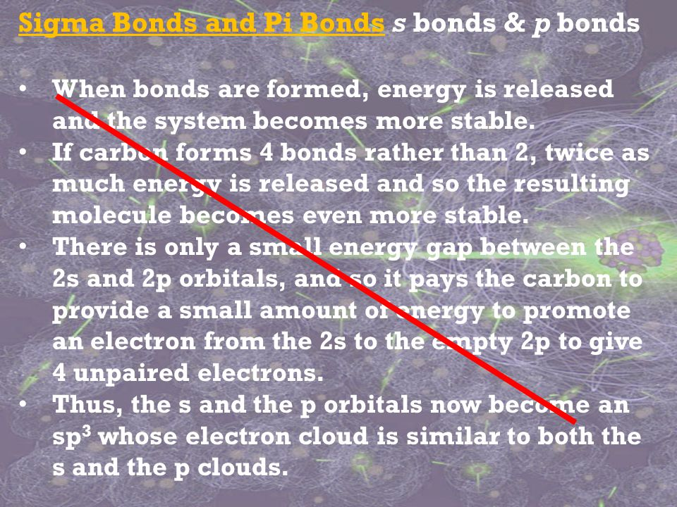 Sigma Bonds and Pi Bonds s bonds & p bonds When bonds are formed, energy is released and the system becomes more stable.
