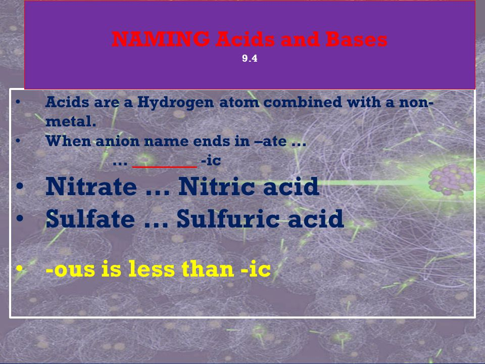 Acids are a Hydrogen atom combined with a non- metal.