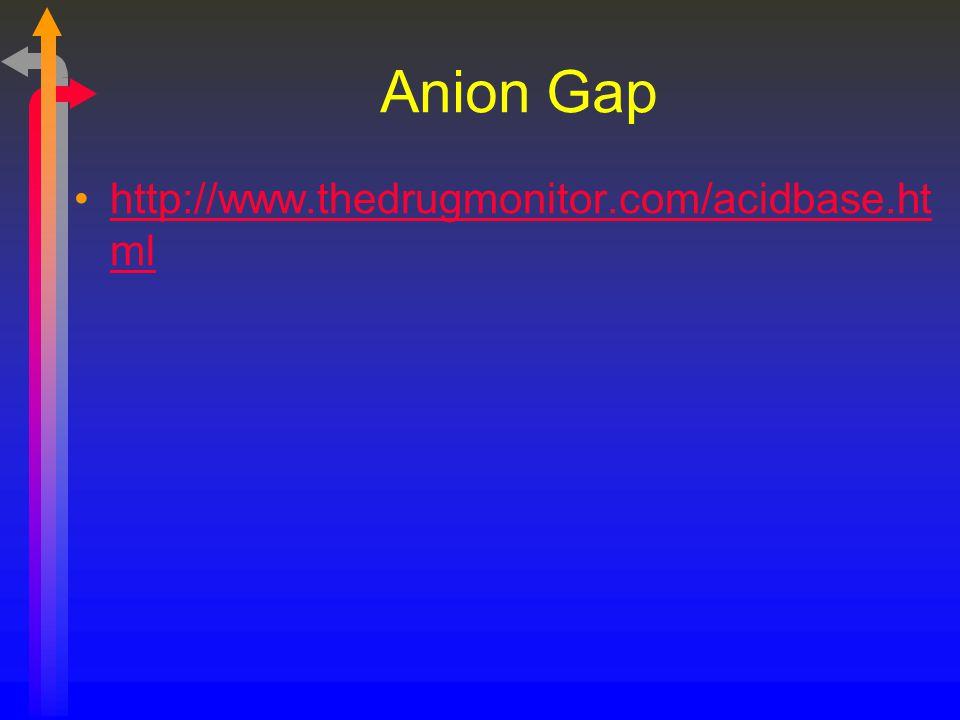 Anion Gap http://www.thedrugmonitor.com/acidbase.ht mlhttp://www.thedrugmonitor.com/acidbase.ht ml