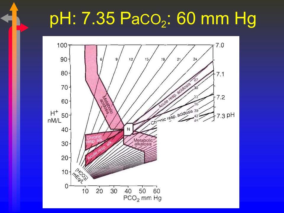 pH: 7.35 P a CO 2 : 60 mm Hg