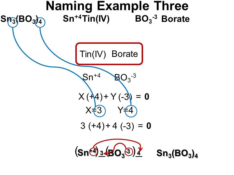 Sn 3 (BO 3 ) 4 Sn +4 BO 3 -3 Borate Tin(IV) Sn +4 BO 3 -3 Tin(IV) Borate (+4) (-3) Y+=0 X=3Y=4 X (+4) (-3) 4+=03 Naming Example Three Sn 3 (BO 3 ) 4 ( )_( )_ Sn +4 BO 3 -3 43