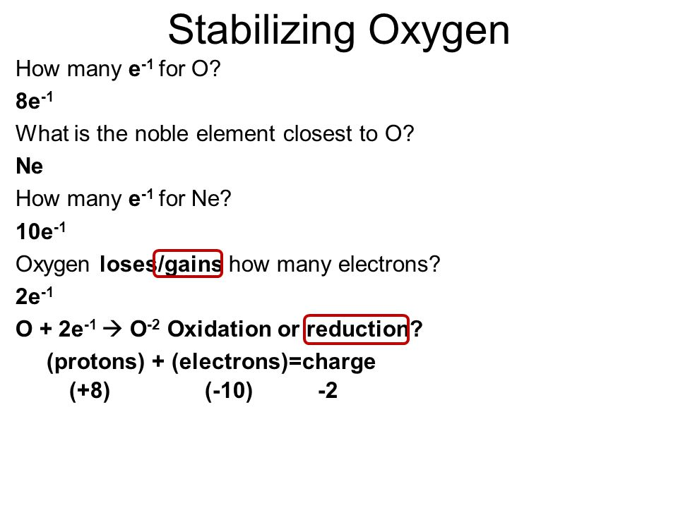 Sodium Loses electrons to Oxygen Na  Na +1 + e -1 (Stable Like Neon) Ox or Red.