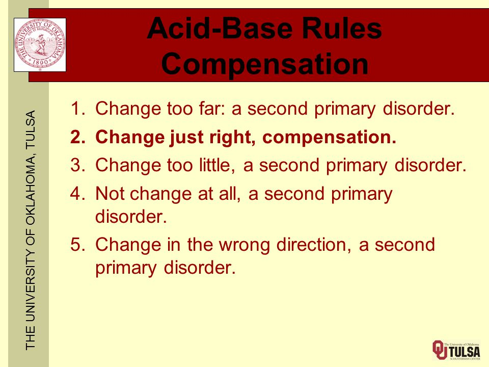 THE UNIVERSITY OF OKLAHOMA, TULSA Acid-Base Rules Compensation 1.Change too far: a second primary disorder. 2.Change just right, compensation. 3.Chang