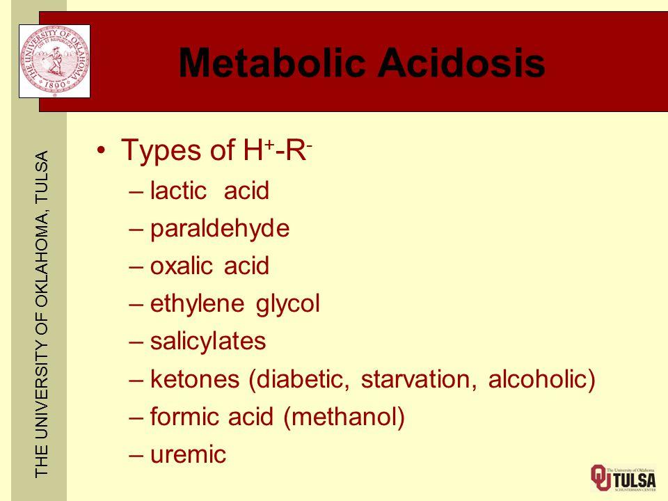 THE UNIVERSITY OF OKLAHOMA, TULSA Metabolic Acidosis Types of H + -R - –lactic acid –paraldehyde –oxalic acid –ethylene glycol –salicylates –ketones (