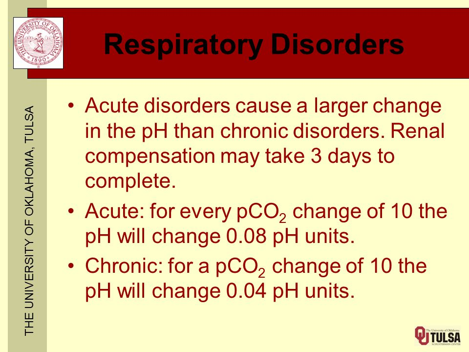 THE UNIVERSITY OF OKLAHOMA, TULSA Respiratory Disorders Acute disorders cause a larger change in the pH than chronic disorders.