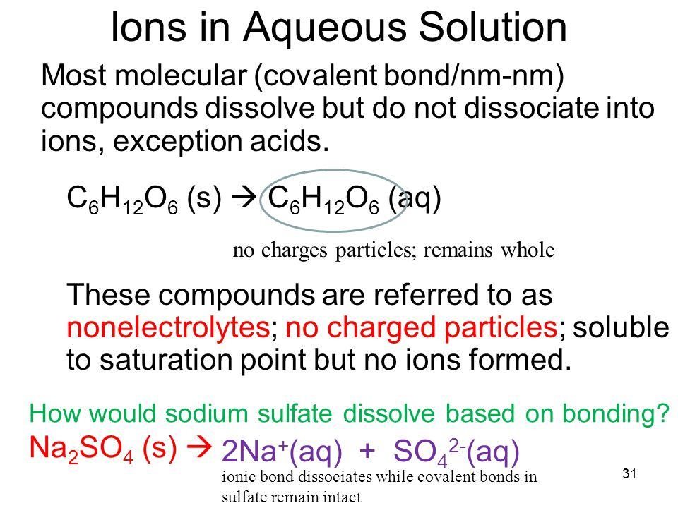 31 Ions in Aqueous Solution Most molecular (covalent bond/nm-nm) compounds dissolve but do not dissociate into ions, exception acids.