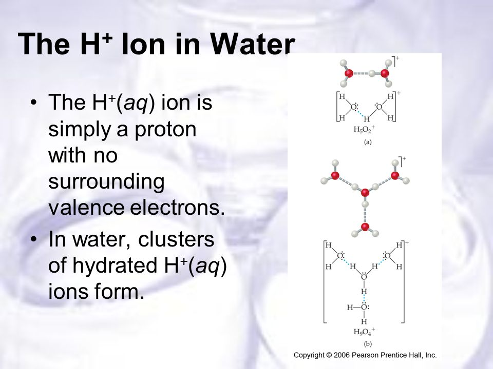 The H + Ion in Water The H + (aq) ion is simply a proton with no surrounding valence electrons.