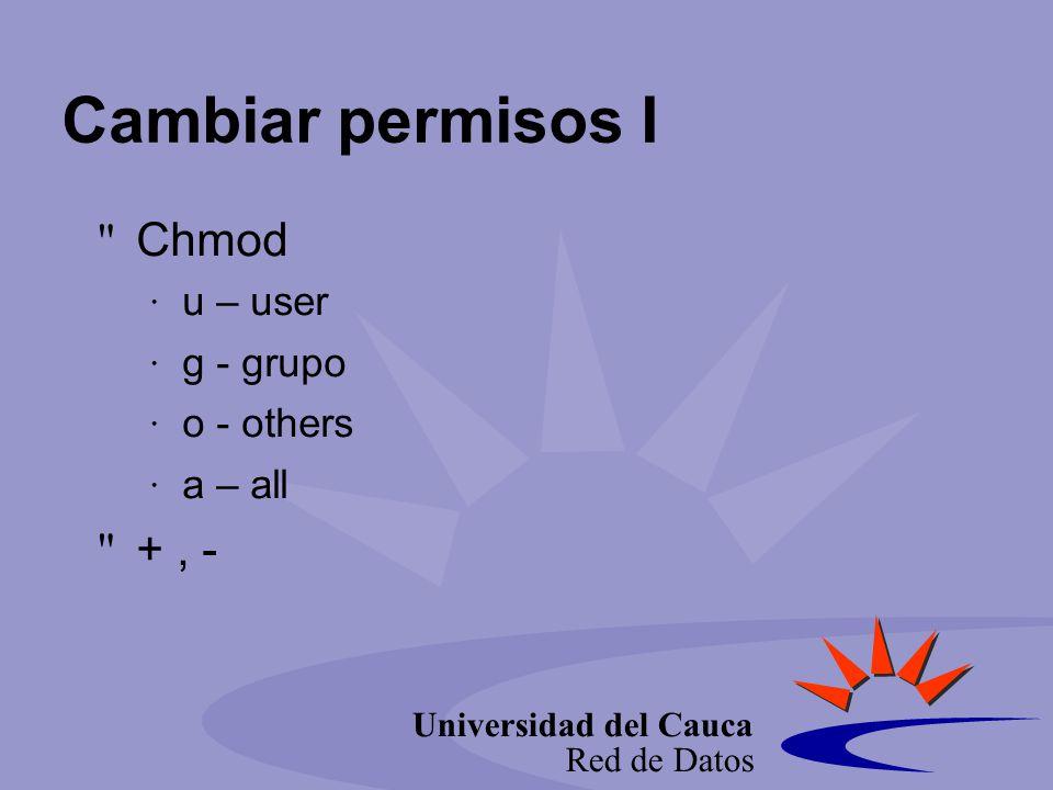 Universidad del Cauca Red de Datos Cambiar permisos I Chmod u – user g - grupo o - others a – all +, -
