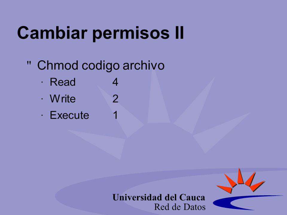 Universidad del Cauca Red de Datos Cambiar permisos II Chmod codigo archivo Read4 Write2 Execute1
