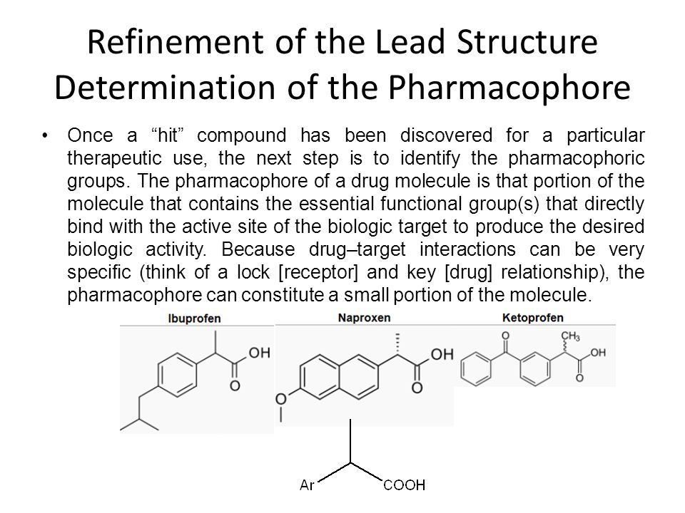 """Refinement of the Lead Structure Determination of the Pharmacophore Once a """"hit"""" compound has been discovered for a particular therapeutic use, the ne"""