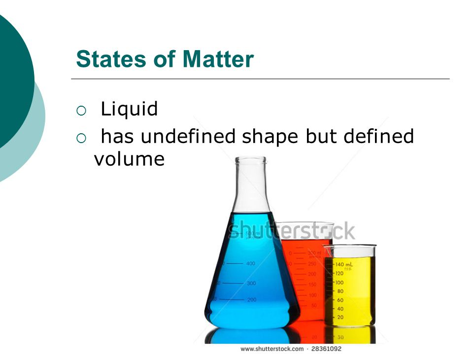 States of Matter  Liquid  has undefined shape but defined volume