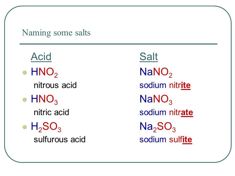 Naming some salts AcidSalt HNO 2 NaNO 2 nitrous acid sodium nitrite HNO 3 NaNO 3 nitric acid sodium nitrate H 2 SO 3 Na 2 SO 3 sulfurous acidsodium sulfite