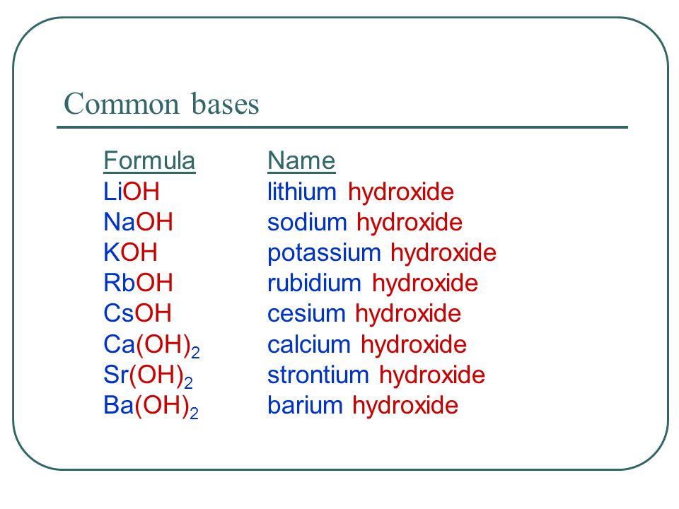 Common bases FormulaName LiOHlithium hydroxide NaOHsodium hydroxide KOHpotassium hydroxide RbOHrubidium hydroxide CsOHcesium hydroxide Ca(OH) 2 calcium hydroxide Sr(OH) 2 strontium hydroxide Ba(OH) 2 barium hydroxide
