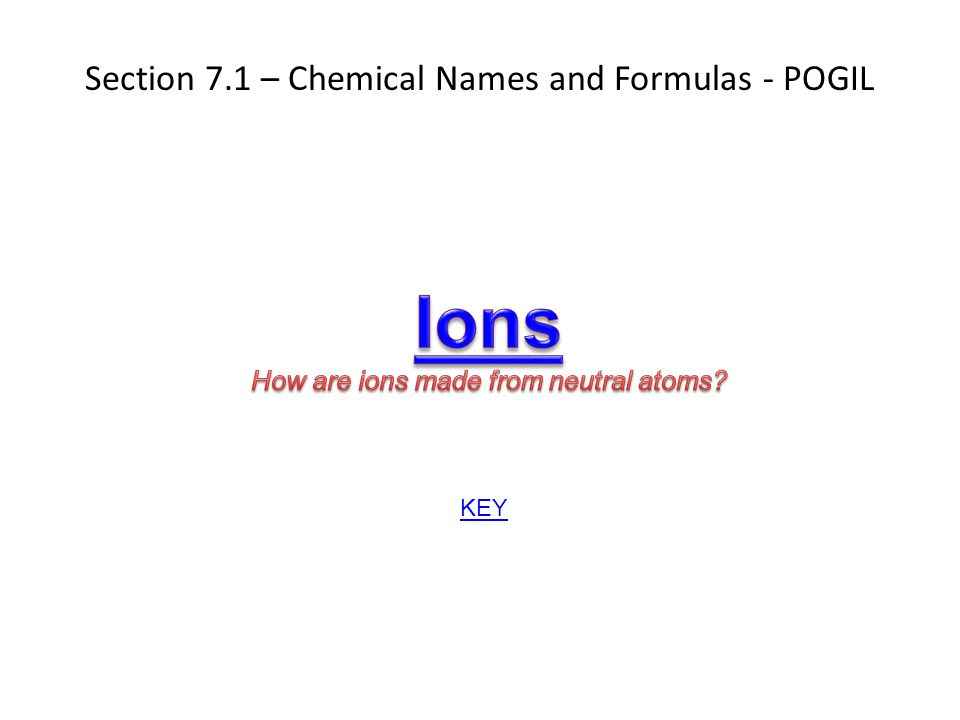Section 7.1 – Chemical Names and Formulas - POGIL KEY