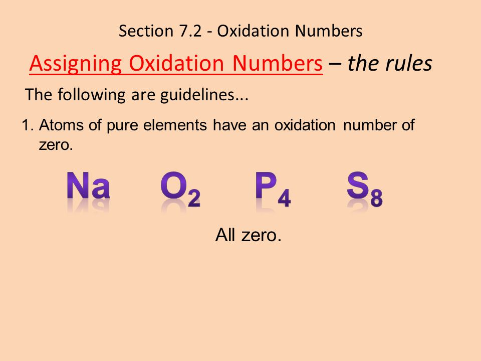 Section 7.2 - Oxidation Numbers Assigning Oxidation Numbers – the rules The following are guidelines... 1.Atoms of pure elements have an oxidation num