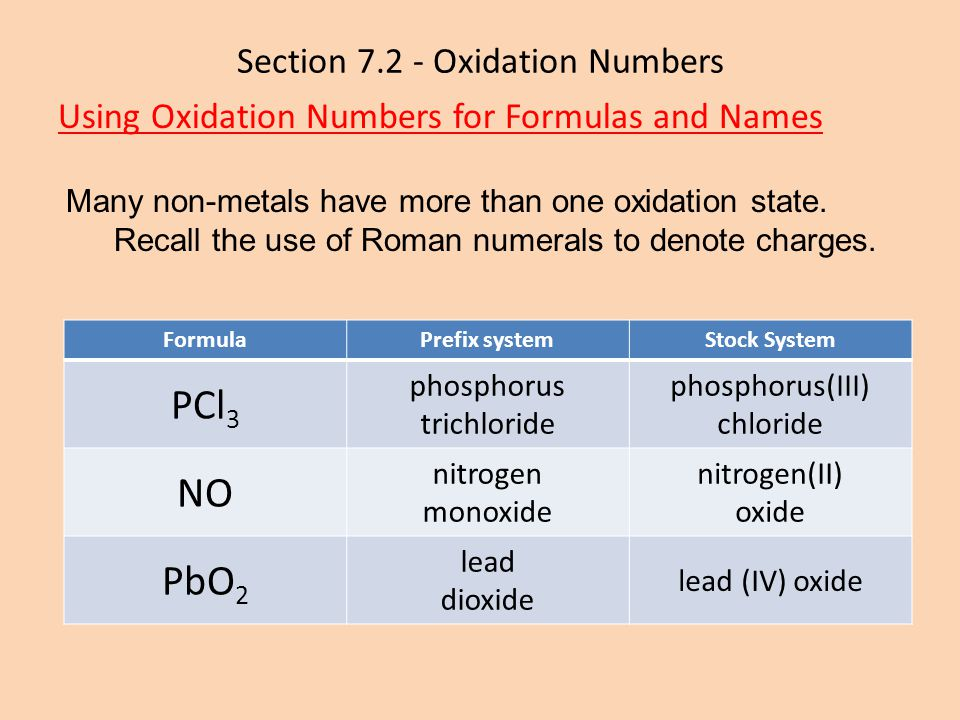 Section 7.2 - Oxidation Numbers Using Oxidation Numbers for Formulas and Names Many non-metals have more than one oxidation state. Recall the use of R