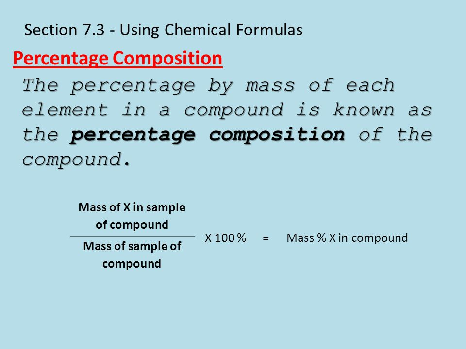 Section 7.3 - Using Chemical Formulas Percentage Composition The percentage by mass of each element in a compound is known as the percentage compositi