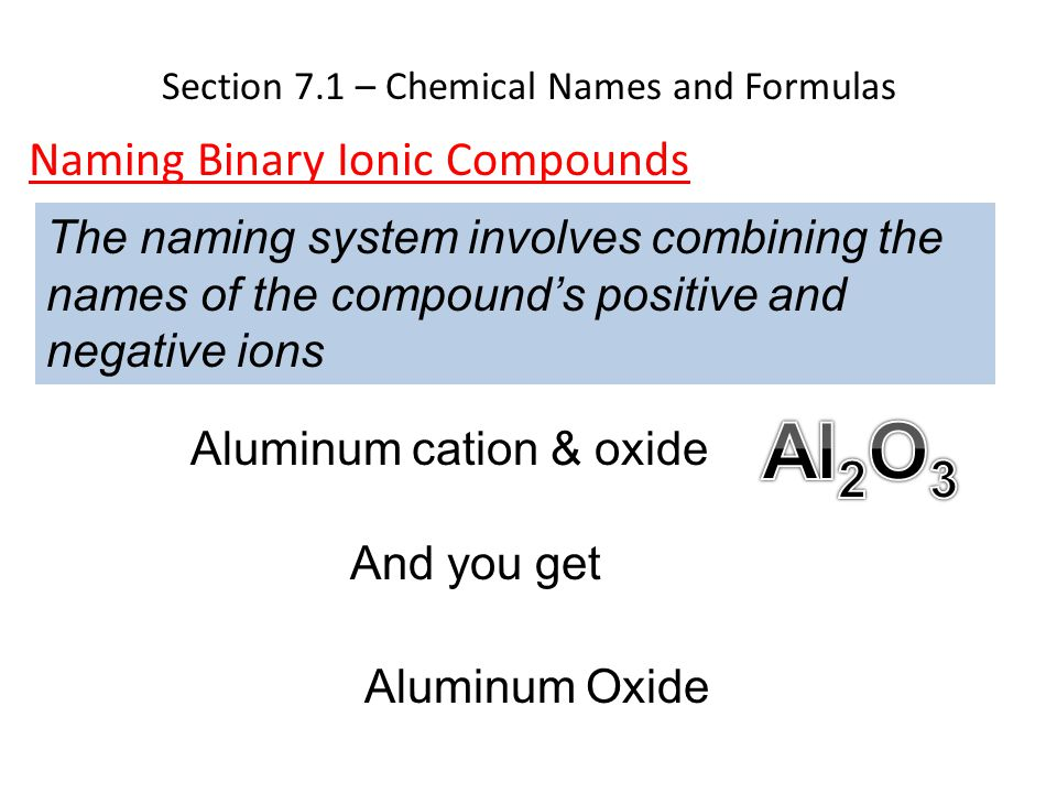 Section 7.1 – Chemical Names and Formulas Naming Binary Ionic Compounds The naming system involves combining the names of the compound's positive and