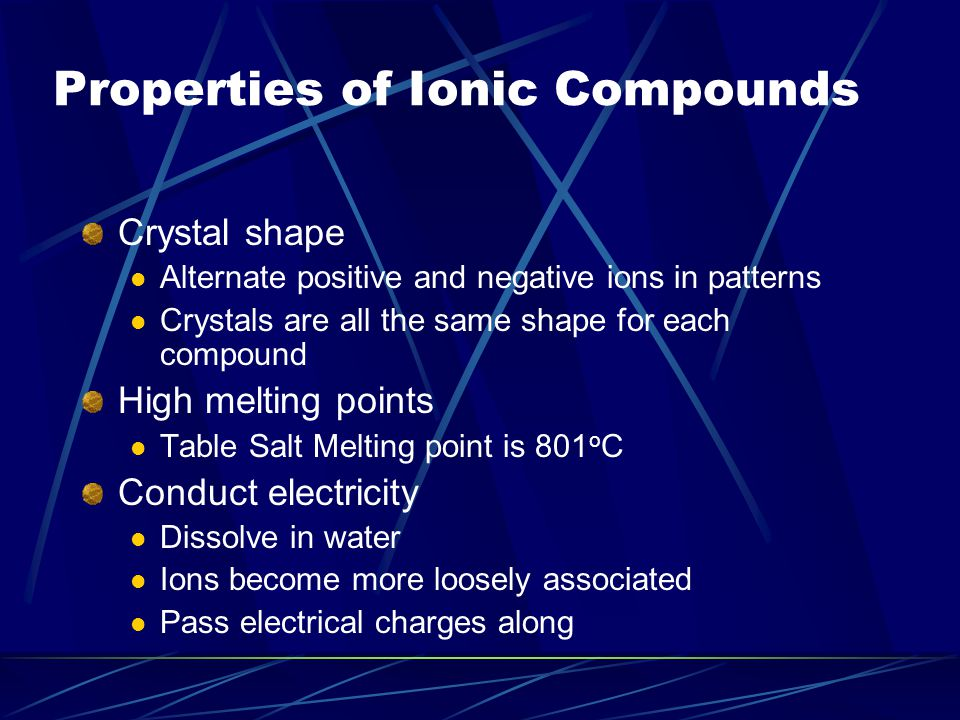 Properties of Ionic Compounds Crystal shape Alternate positive and negative ions in patterns Crystals are all the same shape for each compound High me