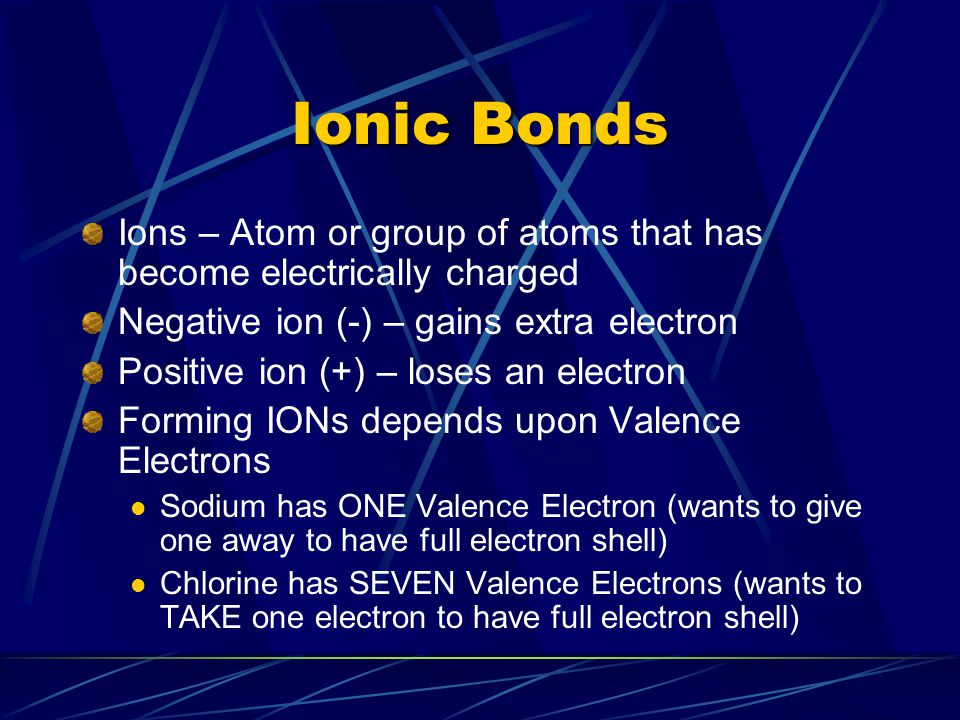 Ionic Bonds Ions – Atom or group of atoms that has become electrically charged Negative ion (-) – gains extra electron Positive ion (+) – loses an electron Forming IONs depends upon Valence Electrons Sodium has ONE Valence Electron (wants to give one away to have full electron shell) Chlorine has SEVEN Valence Electrons (wants to TAKE one electron to have full electron shell)
