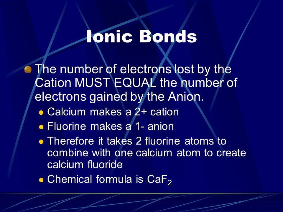 IONIC Bonds Polyatomic Ions – an ion made of more than one atom CO 3 (Carbonate) SO 4 (Sulfate) Naming Ionic Compounds Name of positive ion comes first Name of negative ion comes second, plus – ide Example: NaCl = sodium chloride, Example: KI = potassium iodide