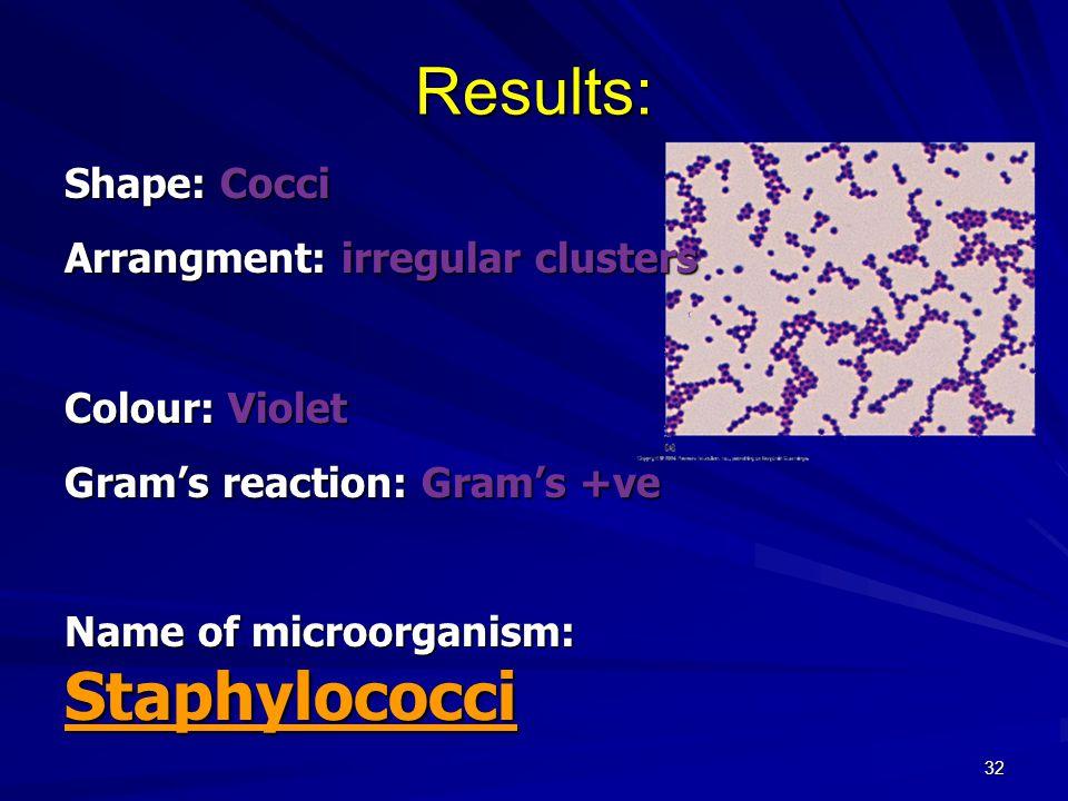 32 Results: Shape: Cocci Arrangment: irregular clusters Colour: Violet Gram's reaction: Gram's +ve Name of microorganism: Staphylococci