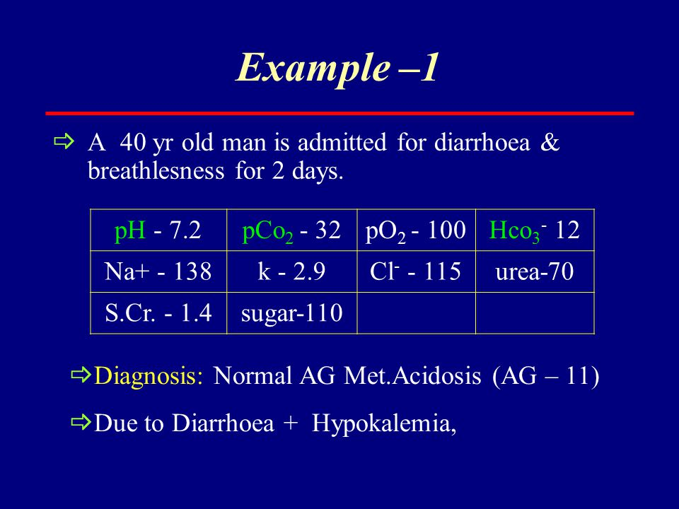 Example –1  A 40 yr old man is admitted for diarrhoea & breathlesness for 2 days. pH - 7.2pCo 2 - 32pO 2 - 100Hco 3 - 12 Na+ - 138k - 2.9Cl - - 115ur