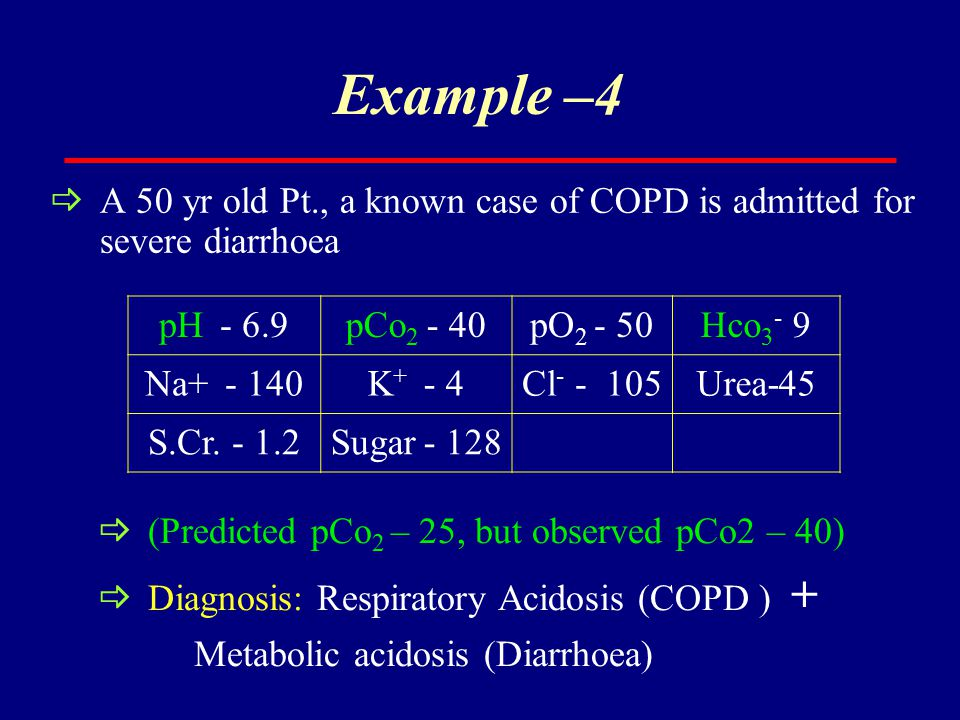 Example –4  A 50 yr old Pt., a known case of COPD is admitted for severe diarrhoea pH - 6.9pCo 2 - 40pO 2 - 50Hco 3 - 9 Na+ - 140K + - 4Cl - - 105Ure